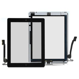 iPad 3 Touch Screen (Digitizer & Glas) + Home Button + Kamera Halterung in schwa