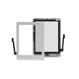 iPad 3 Touch Screen (Digitizer & Glas) + Home Button + Kamera Halterung in weiss