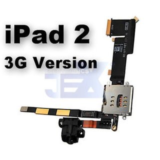 Replacement Audio Jack Flex Cable with Sim Card Reader for iPad 2 (Wifi+3g)